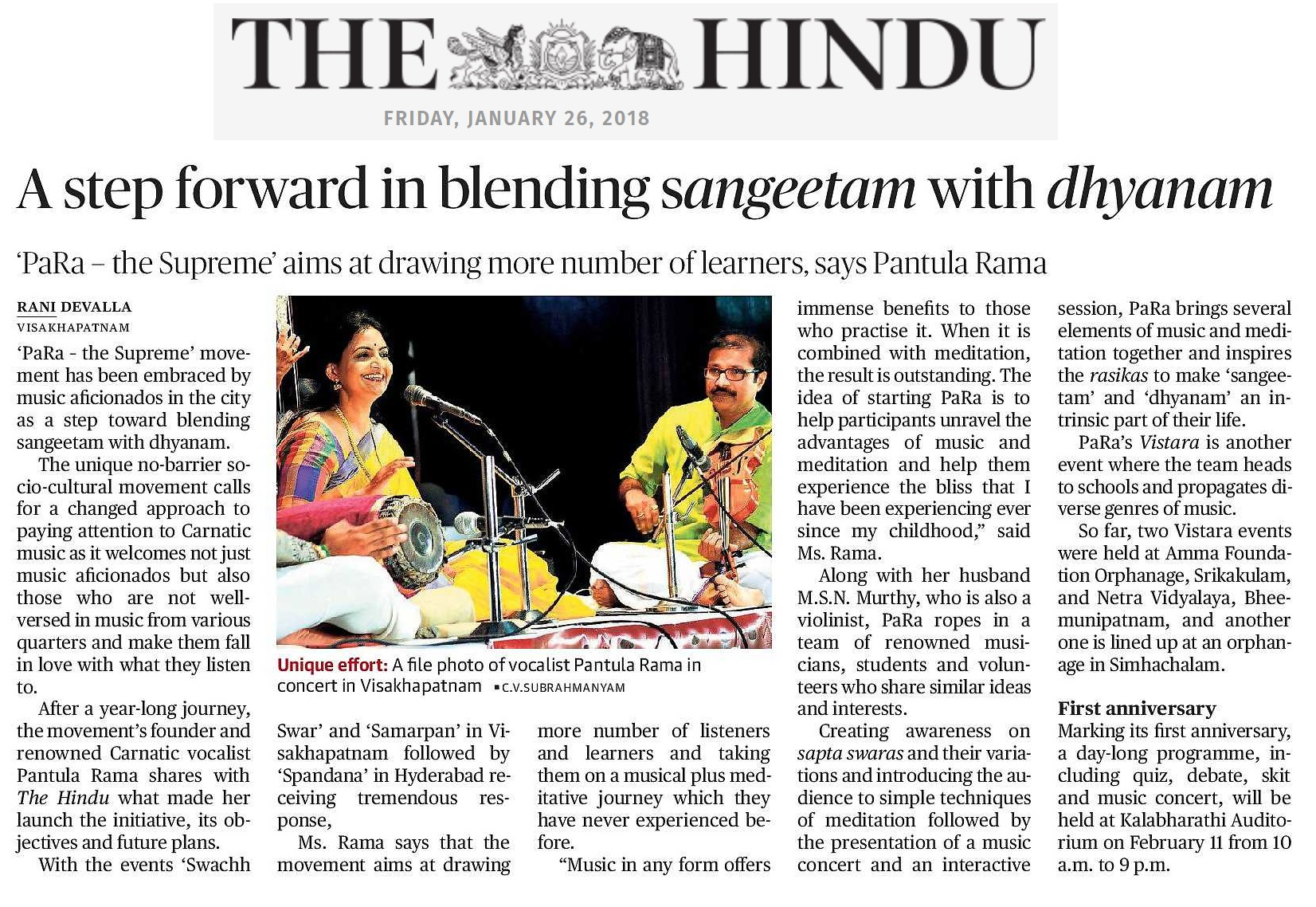 Article in 'The Hindu'